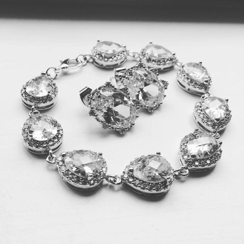 Silver Jewelry Set, Crystal Jewelry Set, Teardrop Jewelry, Wedding Jewelry Set, Bridesmaid Jewelry Set, Bridal Jewelry, Bridal Bracelet