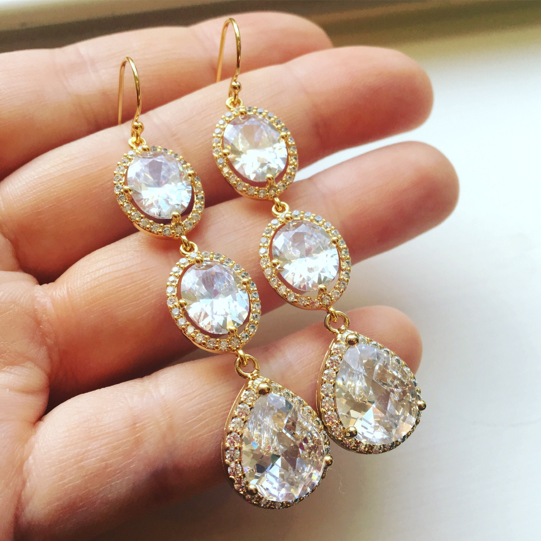 Gold Earrings, Gold Jewelry, Crystal Jewelry, Crystal Earrings, Wedding Jewelry, Bridal Earrings, Bridesmaid Gift Clear Jewelry