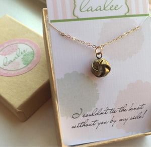 Tie the Knot Necklace, Love Knot Jewelry, Bridesmaid Gift, Gold Knot Necklace