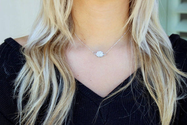Layered Druzy Choker, Silver Layering Necklace Set, Skinny Bar Necklace Dainty Chain Choker Boho Layered Choker, Silver Layered Druzy Choker