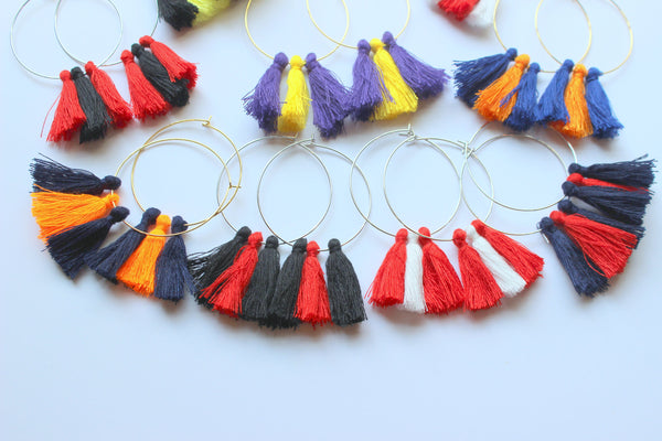 Gift College Jewelry, College Student Gift, Hoop Tassel Earrings, Long Fringe Earrings, Gold Fringe Jewelry Multicolor Earrings Gift for Her