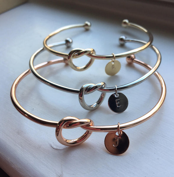 Tie the Knot Gift, Gold Knot Bangle, Love Knot Bracelet, Silver Knot Bangle, Rose Gold Bangle, Help Me Tie the Knot, Tie the Knot Bangle