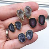 Raw Geode Stud Earrings, Agate Earrings
