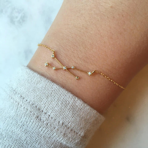 Gold Zodiac Bracelet - Choose Sign
