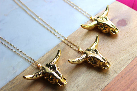 Longhorn Necklace, Longhorn Skull, Rodeo Jewelry, Longhorn Jewelry, Cow Necklace, Bull Skull Necklace, Bull Skull Jewelry, Gold Necklace