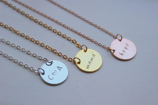 Choose Wording Dainty Disc Necklace, Dainty Disc Jewelry, Personalized Necklace, Personalized Jewelry, Gold Coin Choker, 14k Disc Necklace,
