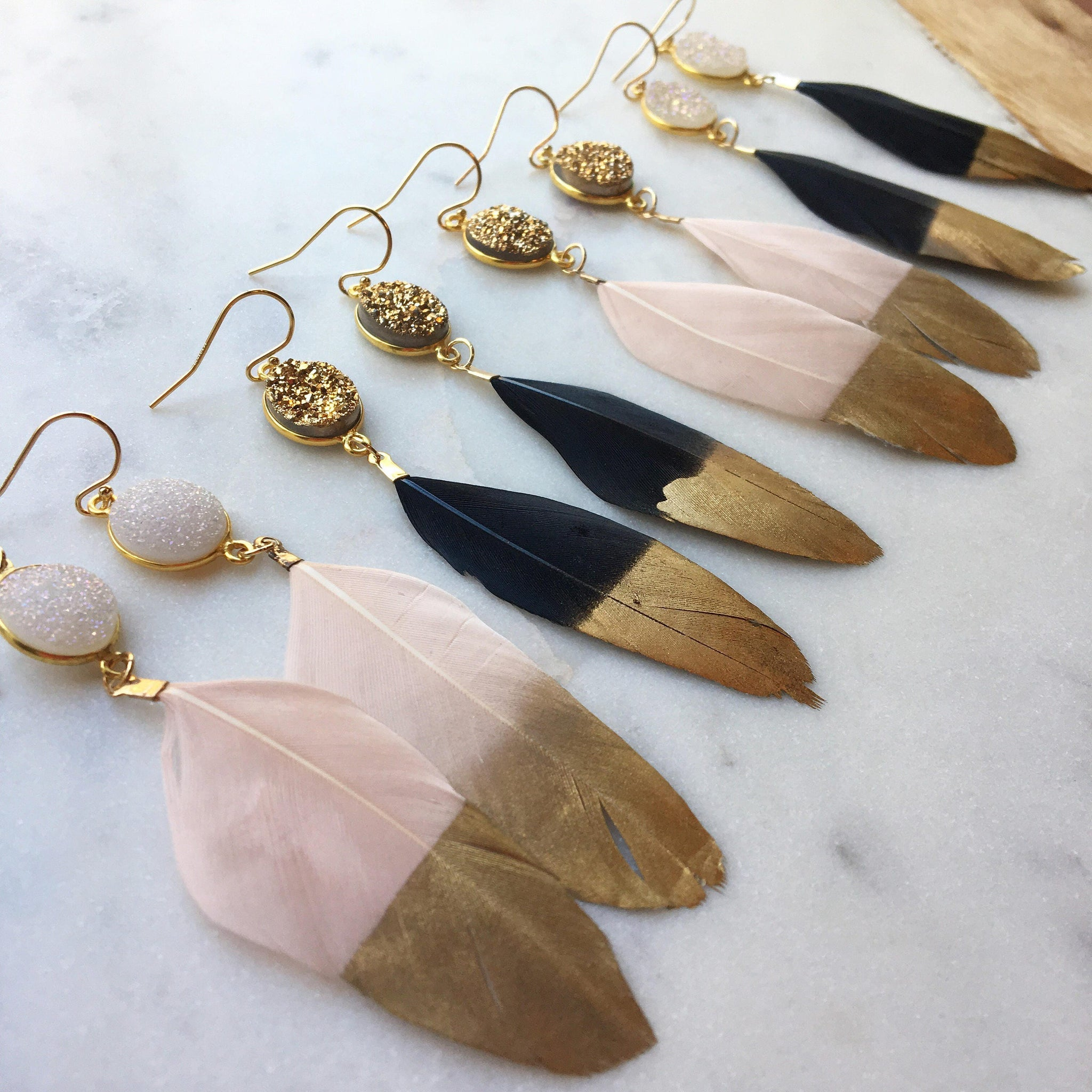 Gold Dipped Feather Earrings, Gold Druzy Earrings, White Druzy Earrings, Black Feather Earrings, Statement Earrings, Fairytale Gift