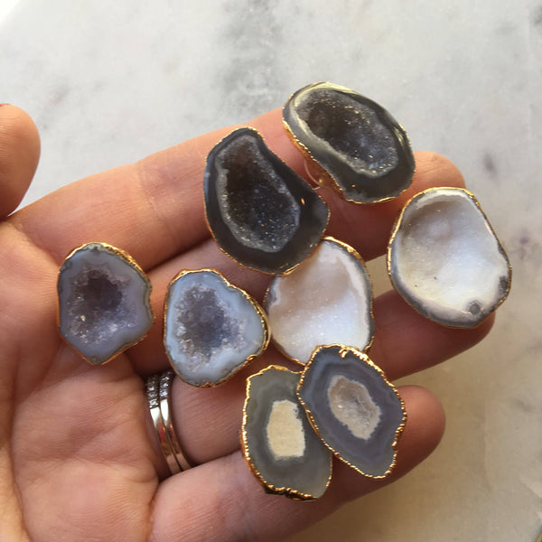 Large Geode Stud Earrings, Geode Post Earrings, Geode Earrings, Statement Earrings, Quartz Earrings Agate Earrings Statement Jewelry, Druzy