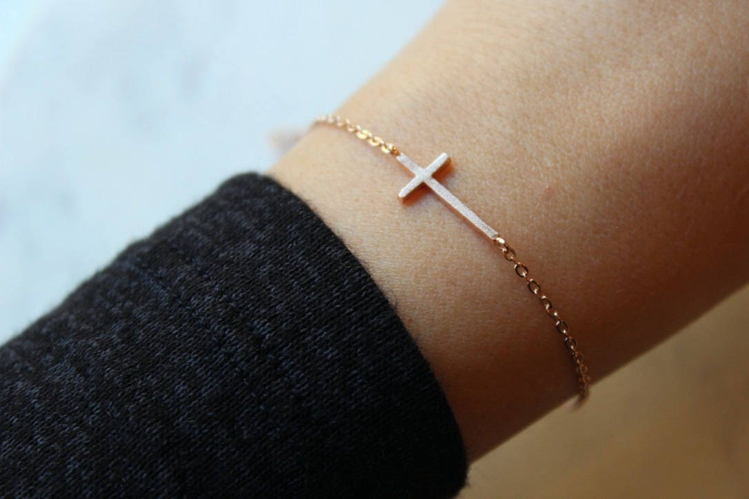 Rose Gold Sideways Cross, Sideway Cross, Sideways Cross, Trending Now, Cross Gift Ideas, Dainty Cross, Relationship Gift Cross Bracelet
