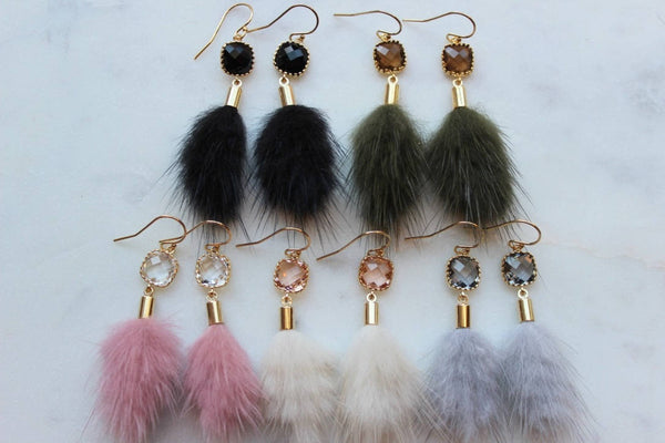 Gold Faux Fur Tassel Earrings with Crystal