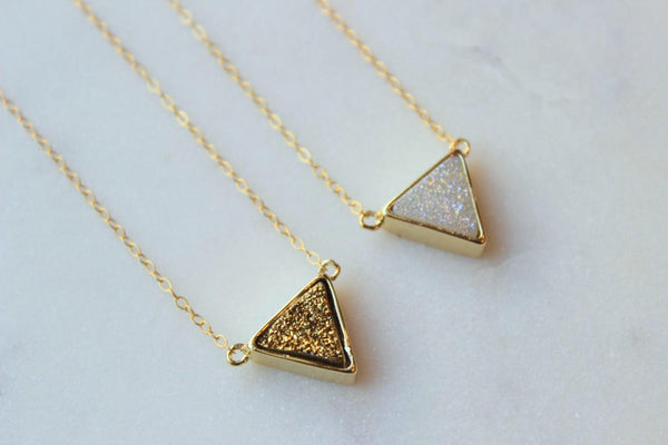 Gold Druzy Triangle Necklace, Floating Triangle, Trending Now, Gold Drusy Necklace White Drusy Necklace Thin Gold Choker Dainty Chain Choker