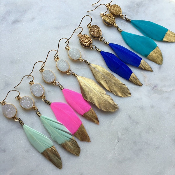 Gold Dipped Feather Earrings, Gold Druzy Earrings, White Druzy Earrings, Feather Earrings, Statement Earrings, Gold Dipped Feathers