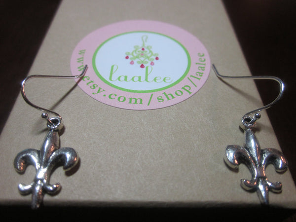 Silver Fleur De Lis Earrings - Sterling Silver Earwires - Valentines Day Gift - Gift under 15