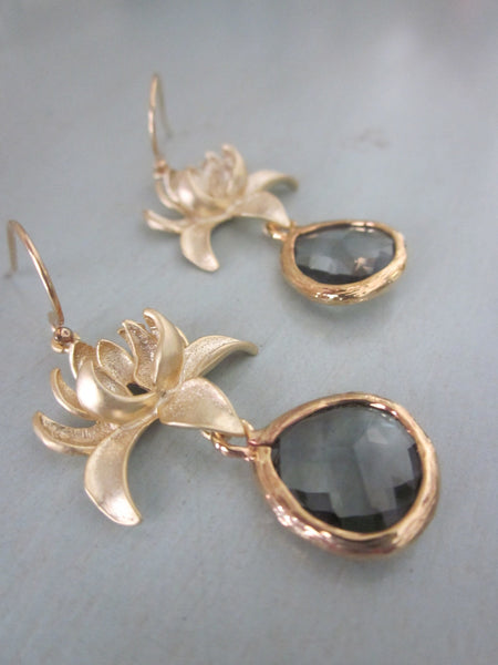 Charcoal Gray Earrings Gold Blossoms - Bridesmaid Earrings - Bridal Earrings - Wedding Jewelry