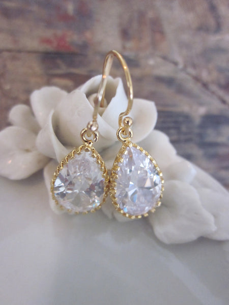 Crystal Earrings Briolette Gold Filled Earwires - Gold Plated Glass Gem - Bridesmaid Earrings - Bridal Earrings