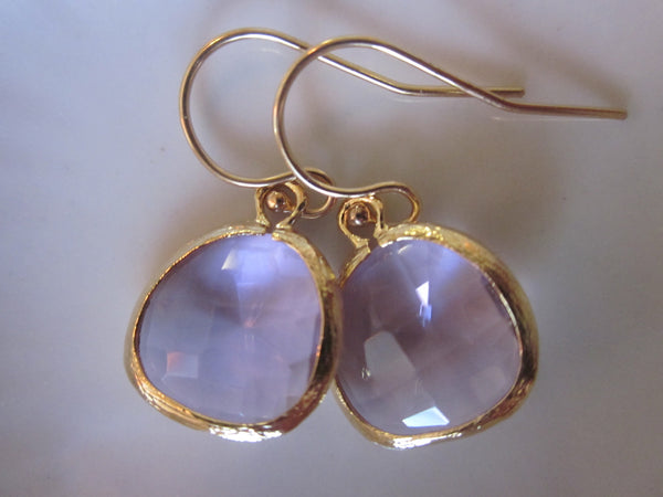 Lavender Earrings Gold Purple Earrings - Bridesmaid Earrings - Wedding Earrings - Valentines Day Gift