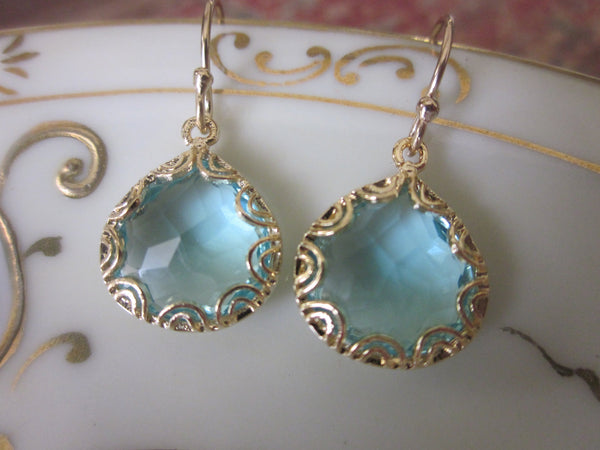 Gold Aquamarine Earrings - Pear Shape with Gold Design - Bridesmaid Earrings - Wedding Earrings - Valentines Day Gift