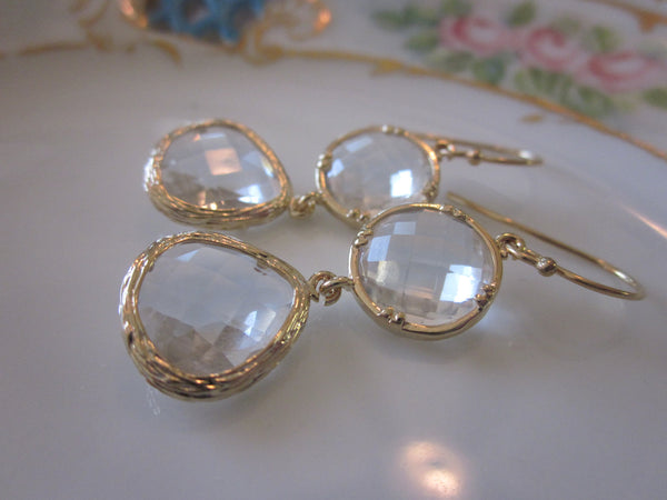 Gold Crystal Earrings Clear - Teardrop Circle Glass Earrings - Bridesmaid Earrings - Bridal Earrings - Wedding Earrings - Bridesmaid Jewelr