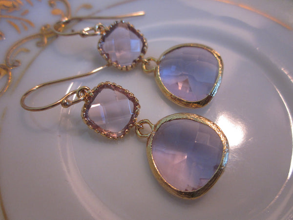 Lavender Earrings Gold - Purple Earrings Two Tier Glass Earrings - Bridesmaid Earrings - Bridal Earrings - Wedding Earrings