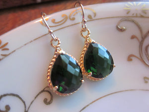 Emerald Green Earrings Teardrop Gold Rope Style - Bridesmaid Earrings Wedding Jewelry Bridal Earrings Valentines Day Gift