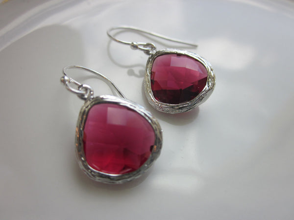 Red Garnet Earrings Silver Plated Glass - Bridesmaid Earrings - Bridal Earrings - Wedding Earrings