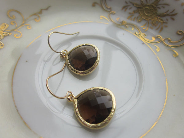 Smoky Brown Earrings Gold Plated Large Pendant - Wedding Earrings - Bridal Earrings - Bridesmaid Earrings