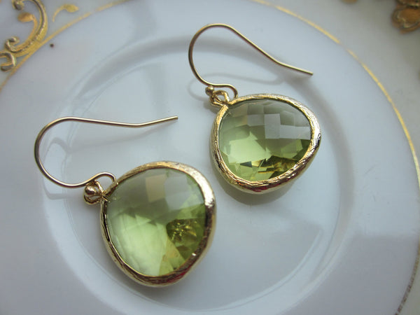 Large Peridot Earrings Gold Plated Apple Green Pendant - Wedding Earrings - Bridal Earrings - Bridesmaid Earrings - Valentines Day Gift