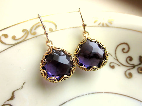 Gold Amethyst Earrings Purple - Pear Shape with Gold Design - Bridesmaid Earrings - Wedding Earrings