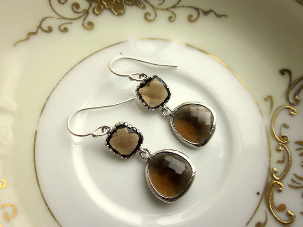 Smoky Brown Earrings Silver Two Tier Bridesmaid Earrings - Bridal Earrings - Wedding Jewelry