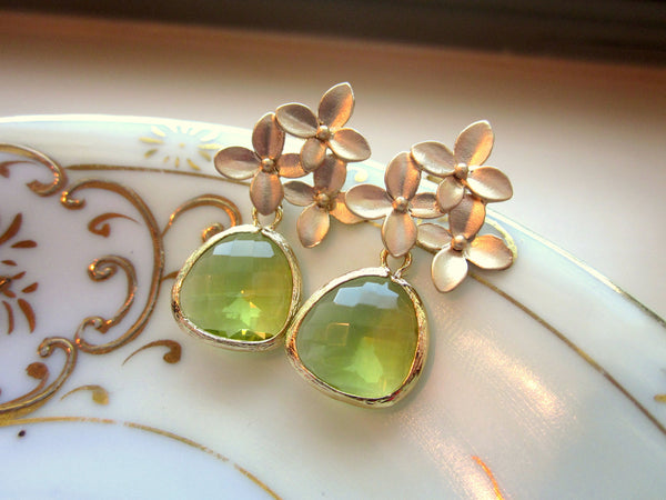 Peridot Earrings Apple Green Gold Cherry Blossom - Sterling Silver Posts - Bridesmaid Earrings - Wedding Jewelry - Valentines Day Gift