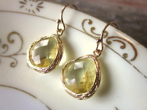 Citrine Earrings Yellow Teardrop Gold Plated Glass - Bridesmaid Earrings - Wedding Earrings - Valentines Day Gift
