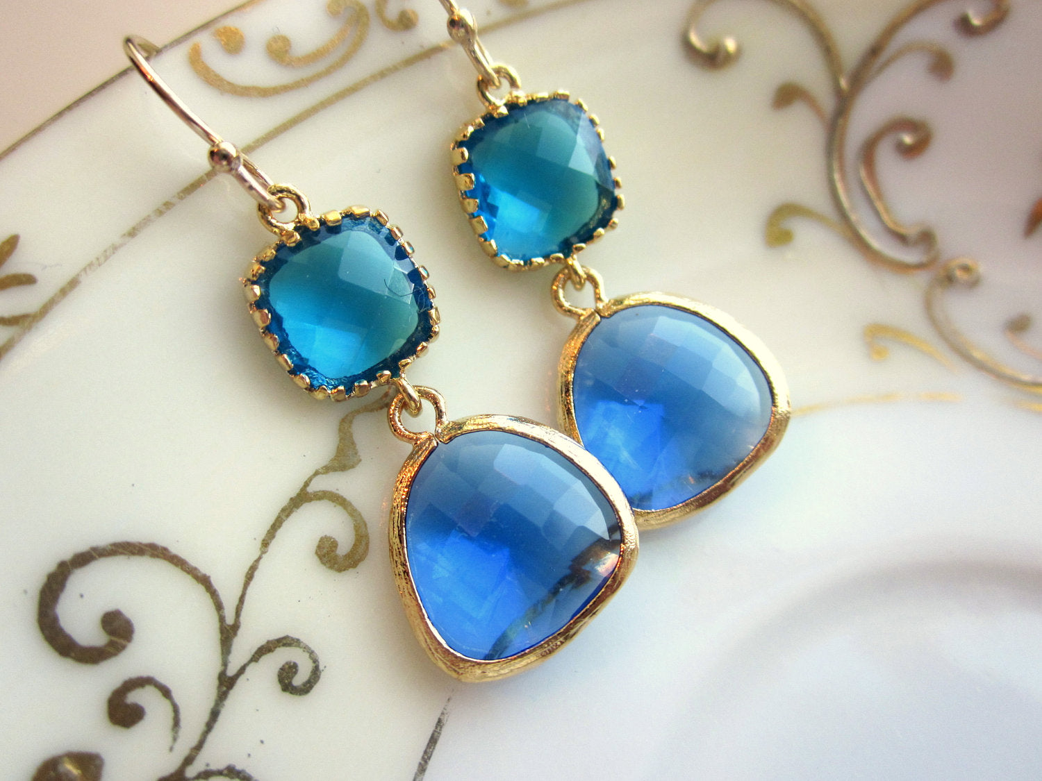 Cobalt Blue Earrings Capri Blue Gold Two Tier Earrings - Bridesmaid Earrings Wedding Earrings Valentines Day Gift