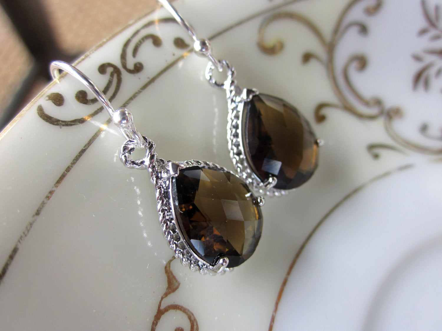 Smoky Brown Earrings Silver Teardrop Bridesmaid Earrings - Bridal Earrings - Wedding Earrings - Valentines Day Gift