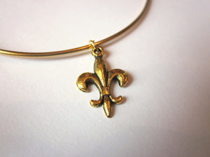 Gold Fleur de Lis Bangle Bracelet Gold Charm - Stackable Bangle Charm Bracelet - Valentines Day Gift - Bridesmaid Gift - Gift under 15