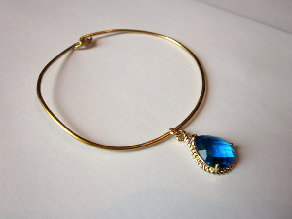 Dangly Blue Teardrop Bangle Charm Bracelet Gold - Stackable Bangle Charm Bracelet - Valentines Day Gift - Bridesmaid Gift - Gift under 15