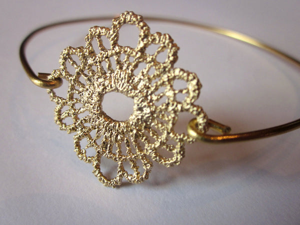 Sunflower Gold Bangle Delicate Bracelet Gold Charm - Stackable Bangle Bracelet - Valentines Day Gift - Bridesmaid Gift - Gift under 15
