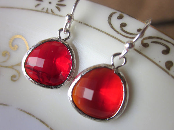 Red Garnet Earrings Candy Apple Red Silver Earrings - Bridesmaid Earrings - Wedding Jewelry - Bridesmaid Jewelry