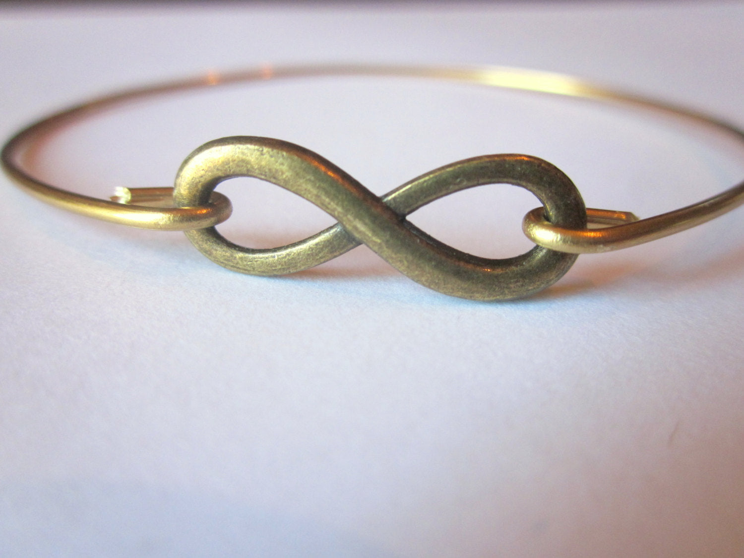 Gold Infinity Bangle Bracelet Gold Infinite Yours Stackable Bangle Charm Bracelet Valentine's Day Gift - Bridesmaid Gift - Gift under 15