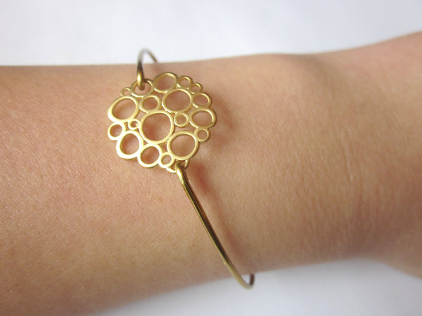 Gold Bubble Bangle Bracelet Gold Circle Charm - Stackable Bangle Charm Bracelet - Bridesmaid Gift - Gift under 15
