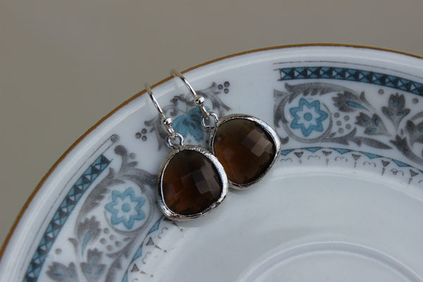 Smoky Brown Earrings Silver Plated - Sterling Silver Earwires - Bridesmaid Earrings - Bridal Earrings - Wedding Jewelry