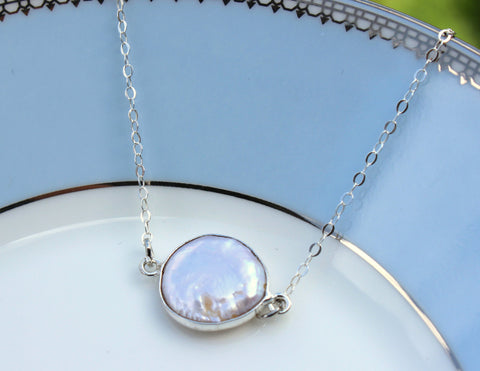 Freshwater Pearl Necklace Sterling Silver Layered Round Pearl - Sterling Silver Chain - Wedding Jewelry - Bridesmaid Necklace