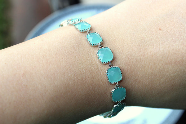 Aqua Blue Mint Bracelet Silver Plated - Any Color Available - Bridesmaid Bracelet - Bridal Bracelet - Wedding Jewelry - Bridesmaid Jewelry