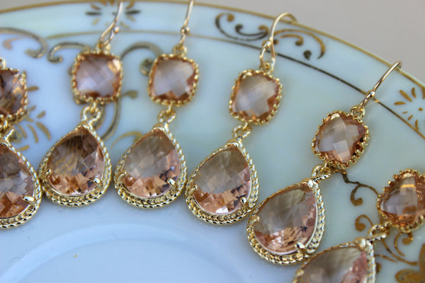 READY TO SHIP - 15% Off Set of 9 Wedding Jewelry Bridesmaid Earrings Bridal Bridesmaid Jewelry Champagne Blush Earrings Peach Gold Teardrop