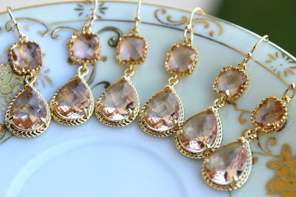 READY TO SHIP - 15% Off Set of 5 Wedding Jewelry Bridesmaid Earrings Bridal Bridesmaid Jewelry Champagne Blush Earrings Peach Gold Teardrop