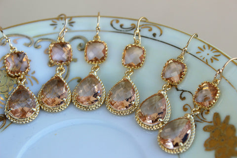 READY TO SHIP - 15% Off Set of 7 Wedding Jewelry Bridesmaid Earrings Bridal Bridesmaid Jewelry Champagne Blush Earrings Peach Gold Teardrop