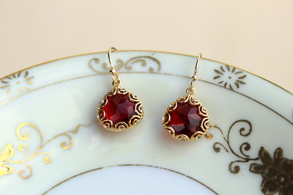 Gold Ruby Red Earrings Pear Shape Gold Filigree Design - Bridesmaid Earrings - Ruby Wedding Earrings - Christmas Gift - Bridesmaid Jewelry