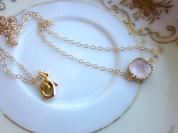 Dainty Opal Pink Necklace Gold Filled Chain - Bridesmaid Necklace - Wedding Jewelry - Valentines Day Gift - Gift under 25