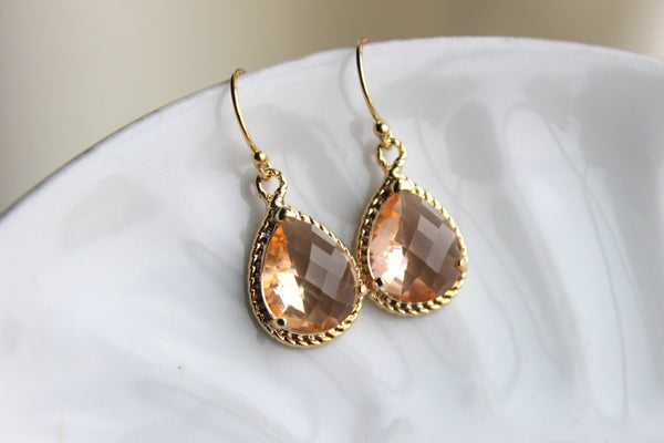 Blush Champagne Teardrop Earrings Peach Gold Earrings Glass - Bridesmaid Earrings Blush Wedding Earrings Champagne Bridesmaid Jewelry