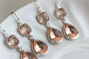 READY TO SHIP - 10% Off Set of 4 Wedding Jewelry Bridesmaid Earrings Bridal Bridesmaid Champagne Blush Earrings Peach Silver Teardrop
