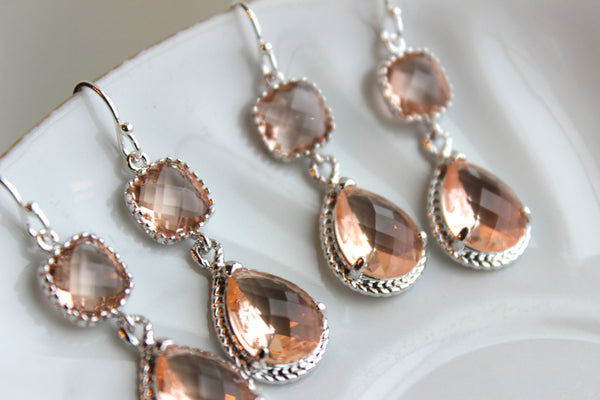 READY TO SHIP 15% Off Set of 9 Wedding Jewelry Bridesmaid Earrings Bridal Bridesmaid Two Tier Champagne Blush Earrings Peach Silver Teardrop